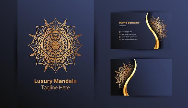 Plantilla de diseño de logotipo y tarjeta de presentación de lujo con mandala ornamental de lujo