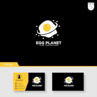 Plantilla de diseño de logotipo y tarjeta de visita de egg planet.