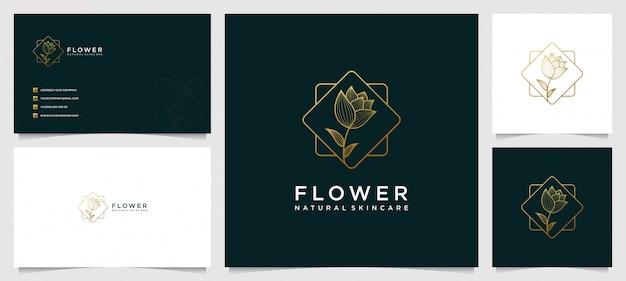 Plantilla de diseño de logotipo y tarjeta de visita de flores, belleza, salud, spa, yoga con estilo de arte lineal