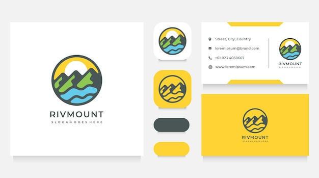 Plantilla de diseño de logotipo y tarjeta de visita con paisaje de montañas y río