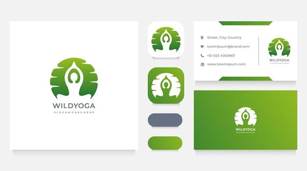Plantilla de diseño de logotipo y tarjeta de visita de yoga al aire libre