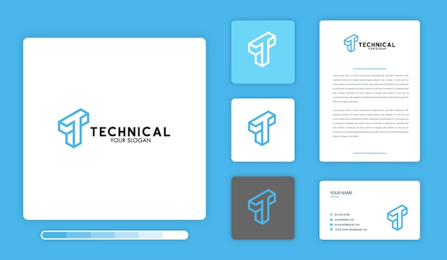 Plantilla de diseño de logotipo técnico