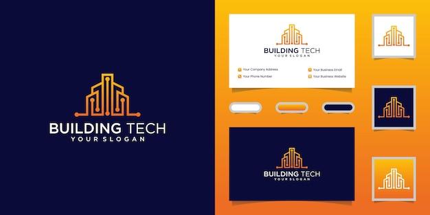 Plantilla de diseño de logotipo de tecnología de construcción y tarjeta de visita
