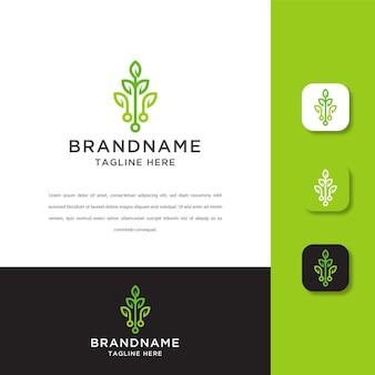 Plantilla de diseño de logotipo de tecnología de hoja. verde, eco, datos.