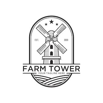 Plantilla de diseño de logotipo vintage de arte de línea de torre de granja