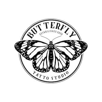 Plantilla de diseño de logotipo vintage hermosa mariposa abstracta