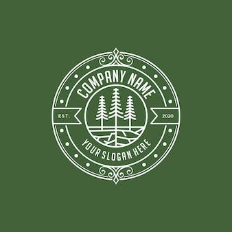 Plantilla de diseño de logotipo vintage de pinos abstractos