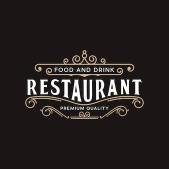 Plantilla de diseño de logotipo vintage de restaurante premium