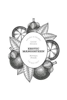 Plantilla de diseño de mangostán estilo boceto dibujado a mano. ilustración de vector de alimentos frescos orgánicos sobre fondo blanco. bandera de frutas retro.