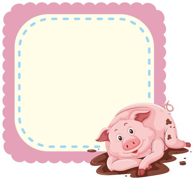 Plantilla de diseño de marco con cerdo en barro