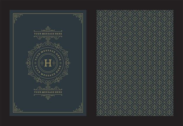 Plantilla de diseño de marco de viñetas y remolinos ornamentados caligráficos de tarjeta de felicitación de adorno vintage