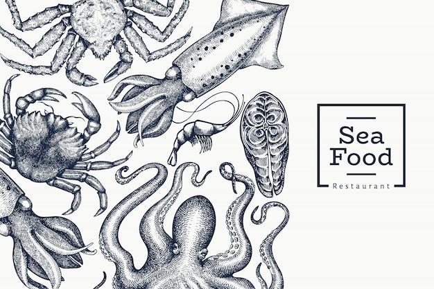 Plantilla de diseño de mariscos. dibujado a mano ilustración de mariscos. comida de estilo grabado. fondo de animales marinos retro