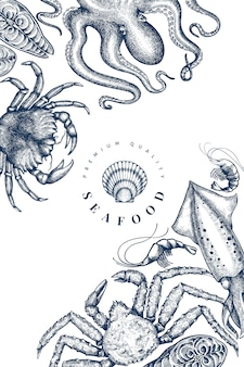 Plantilla de diseño de mariscos. dibujado a mano ilustración vectorial de mariscos