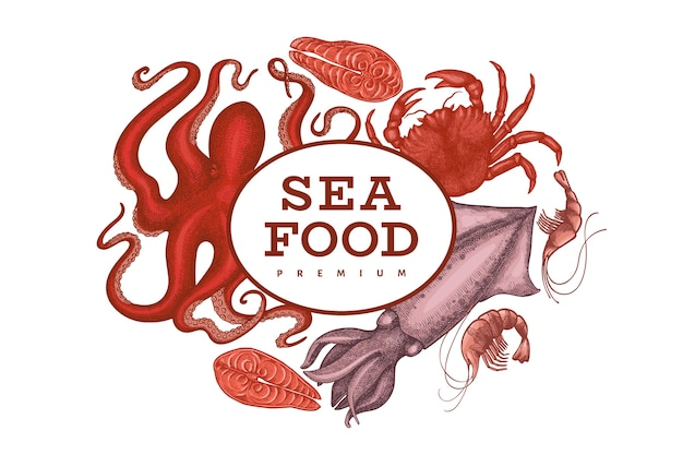 Plantilla de diseño de mariscos. ilustración de mariscos vector dibujado a mano. banner de comida de estilo grabado. fondo de animales marinos vintage