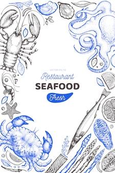 Plantilla de diseño de mariscos y pescados.