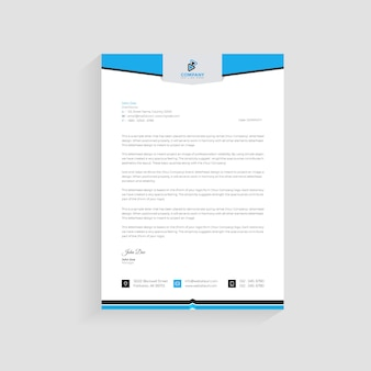 Plantilla de diseño de membrete de empresa moderna azul premium