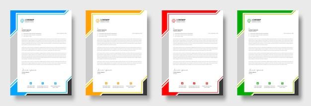 Plantilla de diseño de membrete de negocios moderno corporativo con colores amarillo, azul, verde y rojo