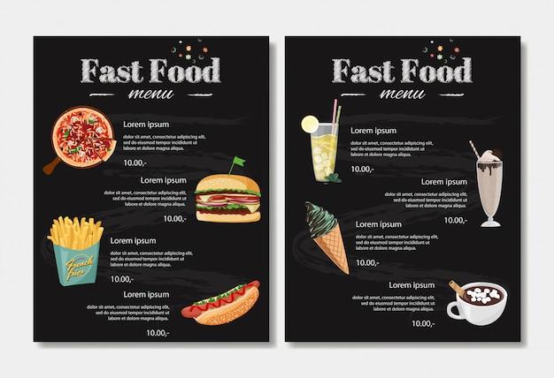 Plantilla de diseño de menú de comida rápida.