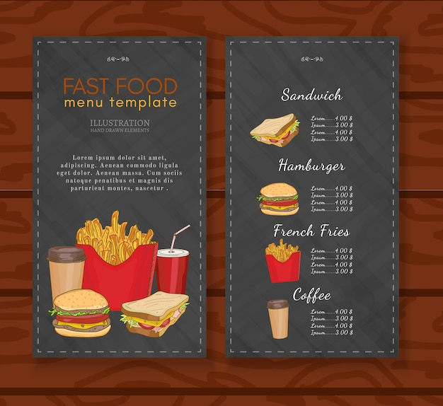 Plantilla de diseño de menú de comida rápida