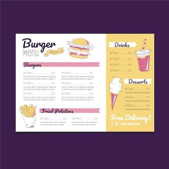 Plantilla de diseño de menú de hamburguesas