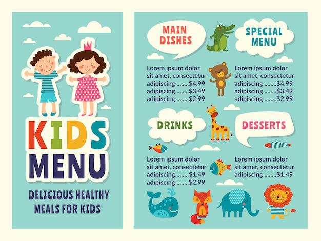 Plantilla de diseño del menú infantil con imágenes divertidas en color y lugar para el texto.