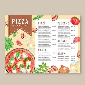 Plantilla de diseño de menú de pizza