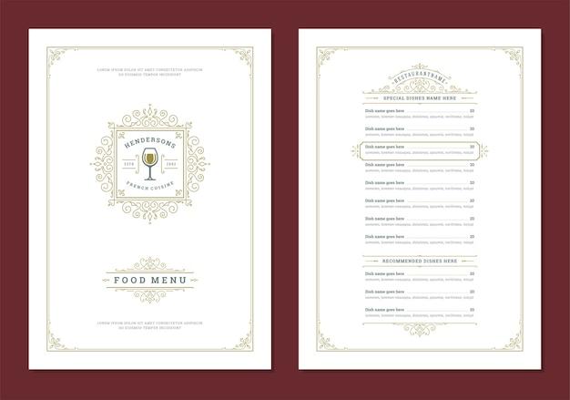 Plantilla de diseño de menú con portada y folleto de logotipo vintage de restaurante
