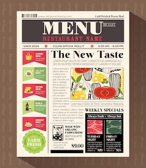 Plantilla de diseño de menú de restaurante en estilo de periódico