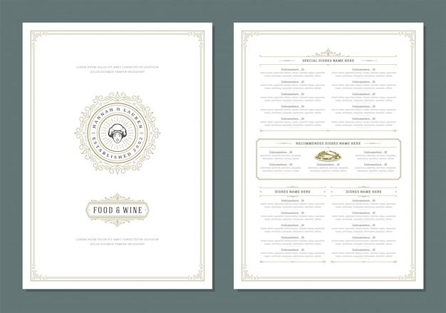 Plantilla de diseño de menú con tapa y restaurante vintage logo folleto.