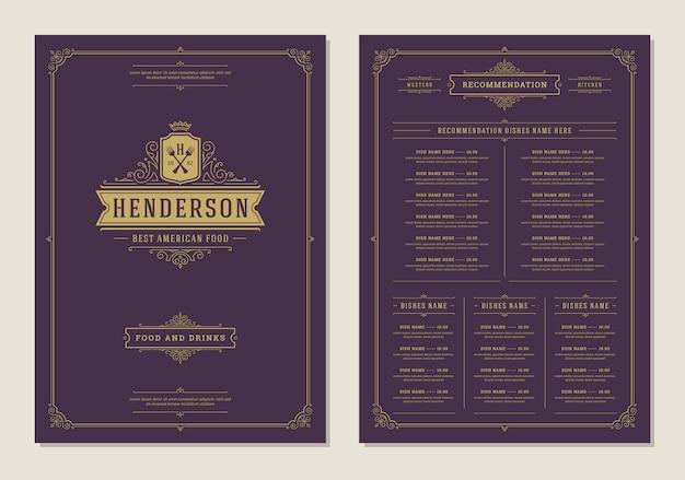 Plantilla de diseño de menú con tapa y restaurante vintage logo vector folleto.