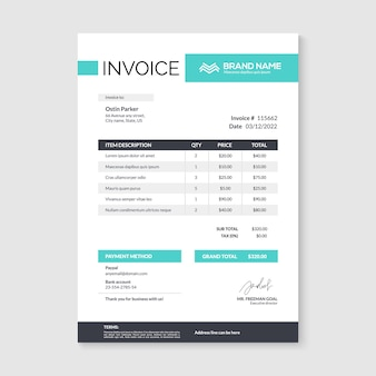 Plantilla de diseño mínimo de factura. formulario de factura de contabilidad de facturas comerciales.
