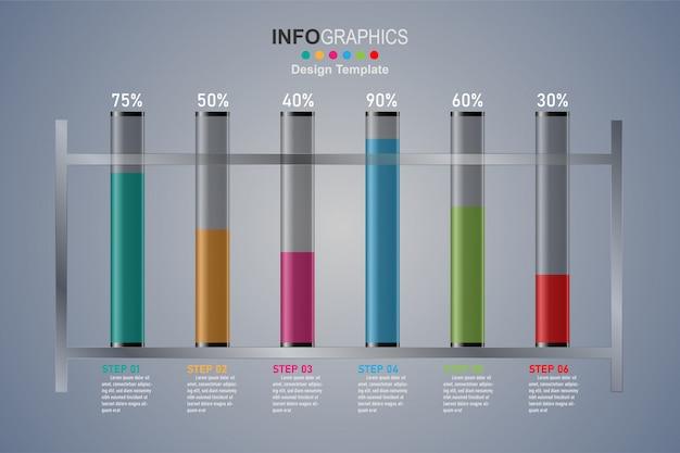 Plantilla de diseño moderno para infografías con tubos de vidrio de 6 pasos.