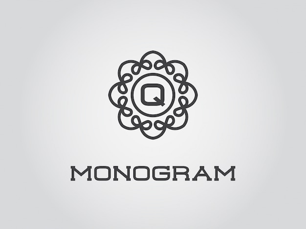 Plantilla de diseño de monograma compacto con ilustración de letra calidad elegante premium