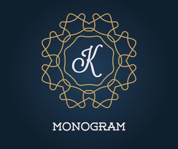 Plantilla de diseño de monograma con ilustración de letra oro de calidad elegante premium en azul marino