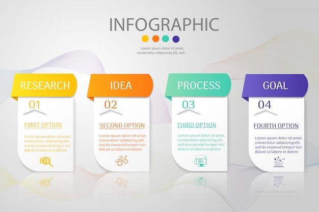 Plantilla de diseño de negocios 4 opciones infografía elemento gráfico.