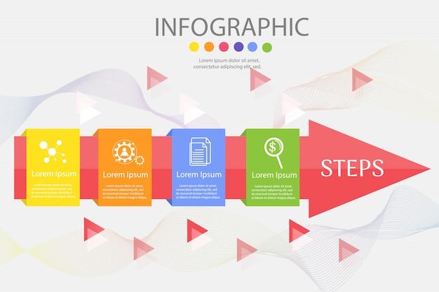 Plantilla de diseño de negocios 4 pasos infográfico gráfico elemento.