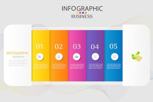 Plantilla de diseño de negocios 5 opciones infografía elemento gráfico.