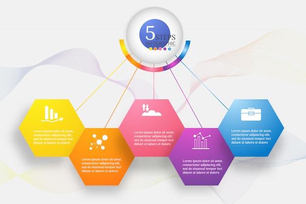 Plantilla de diseño de negocios 5 pasos infográfico gráfico elemento.