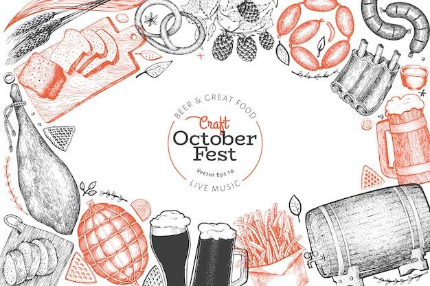 Plantilla de diseño de oktoberfest. vector ilustraciones dibujadas a mano. saludo tarjeta festival de cerveza en estilo retro.