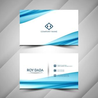 Plantilla de diseño de onda azul de tarjeta de visita con estilo abstracto