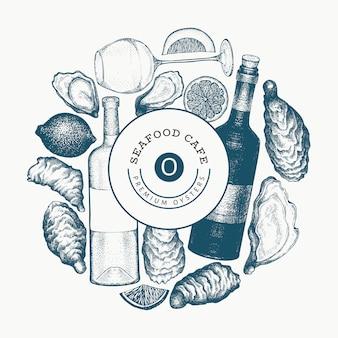 Plantilla de diseño de ostras y vino. dibujado a mano ilustración. banner de mariscos.