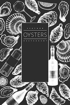 Plantilla de diseño de ostras y vino. dibujado a mano ilustración en pizarra. banner de mariscos.