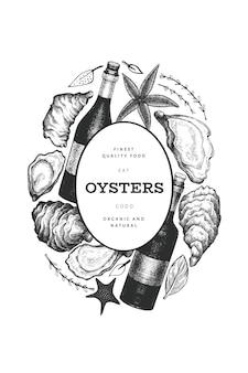 Plantilla de diseño de ostras y vino. ilustración dibujada a mano. bandera de mariscos.
