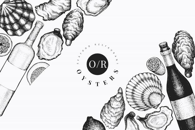 Plantilla de diseño de ostras y vino. ilustración de vector dibujado a mano. bandera de mariscos. se puede utilizar para el menú de diseño, envases, recetas, etiquetas, mercado de pescado, productos del mar.