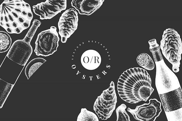 Plantilla de diseño de ostras y vino. ilustración de vector dibujado a mano en pizarra. bandera de mariscos. se puede utilizar para el menú de diseño, envases, recetas, etiquetas, mercado de pescado, productos del mar.