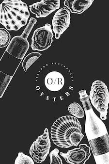 Plantilla de diseño de ostras y vino. ilustración de vector dibujado a mano en pizarra.