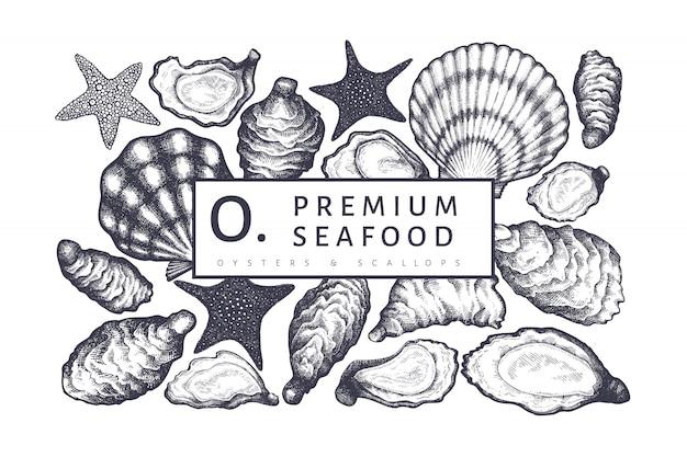 Plantilla de diseño de ostras.