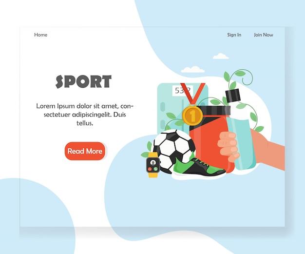 Plantilla de diseño de página de aterrizaje de sitio web deportivo