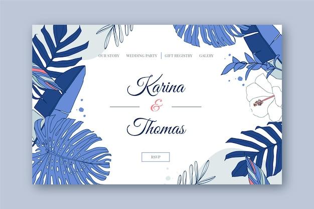 Plantilla de diseño de página de destino de boda con ilustración botánica