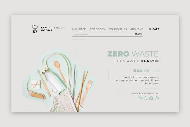 Plantilla de diseño de página de destino de desperdicio cero